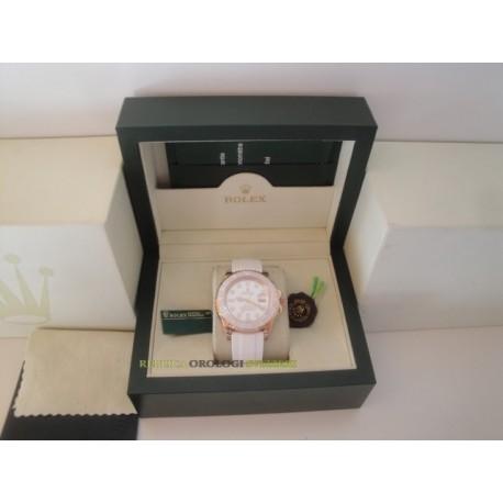 Rolex replica yacht master I rose gold bay max strip rubber orologio replica copia