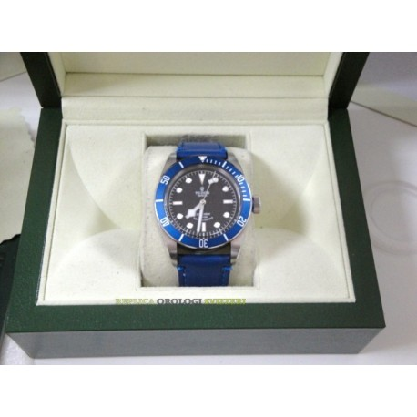 Tudor replica self-winding blue bezel strip leather orologio replica copia