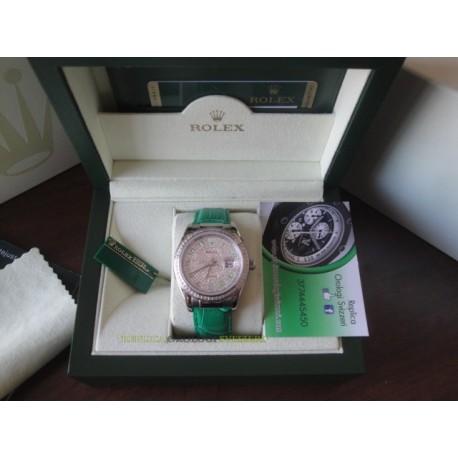 Rolex replica datejust strip leather green full diamond dial orologio replica copia