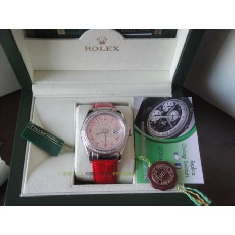 Rolex replica datejust strip leather red full diamond dial orologio replica copia