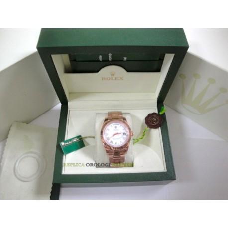 Rolex replica daydate rose gold white roman orologio replica copia