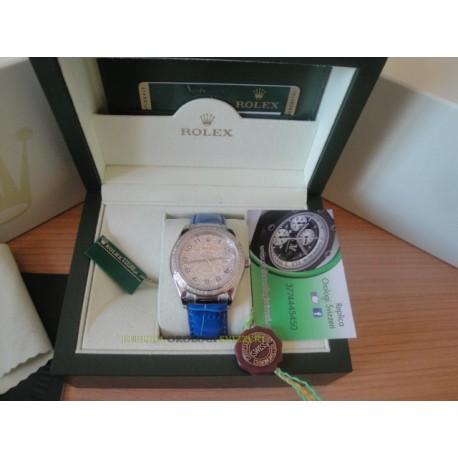 Rolex replica datejust strip leather blue full diamond dial orologio replica copia