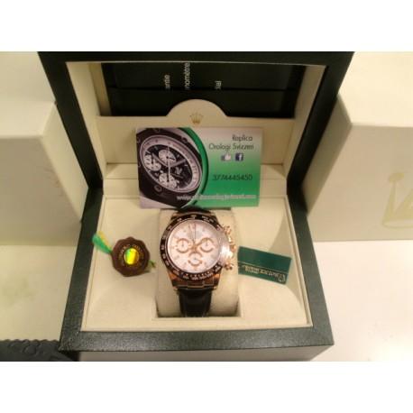 Rolex replica daytona chocolate rose gold white dial strip leather orologio replica copia