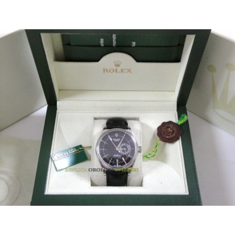 Rolex replica cellini strip leather black dial orologio replica copia