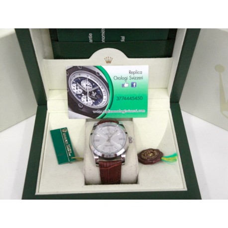 Rolex replica datejust oyster argentèè strip leather orologio replica copia