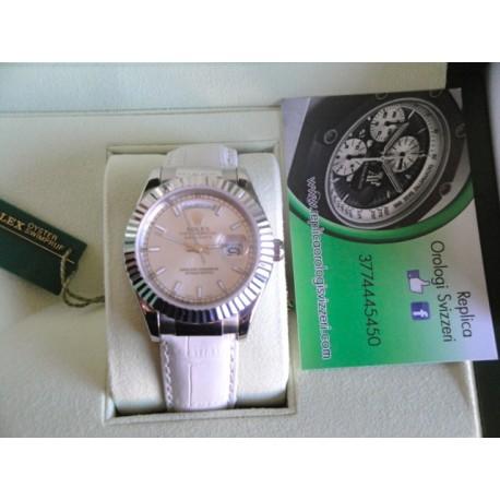 Rolex replica daydate acciaio strip leather white dial orologio replica copia
