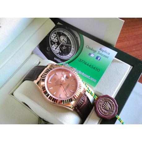 Rolex replica daydate rose gold strip leather brown orologio replica copia
