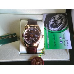 Rolex replica daydate oro giallo brown dial strip leather orologio replica copia