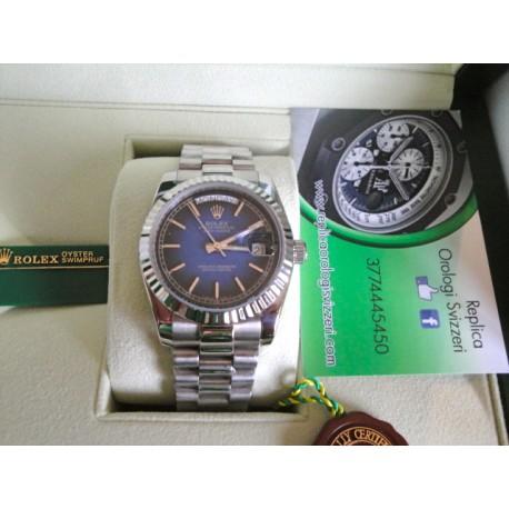 Rolex replica daydate acciaio d- blu barrette orologio replica copia