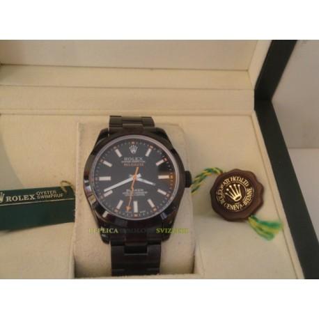 Rolex replica milgauss pro-hunter pvd green sapphire black dial orologio replica copia
